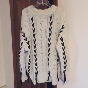 Oversized sweater- Oatmeal and Black-Elan
